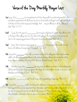 image relating to Printable Prayer List named Verse of the Working day Regular monthly Prayer Listing No cost Printable